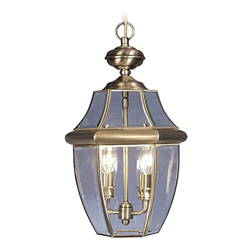 Outdoor-Pendants-2-Light-with-Solid-Brass-Clear-Beveled-Glass-Antique-Brass-Size-11-in-120-Watts-World-of-Crystal-0