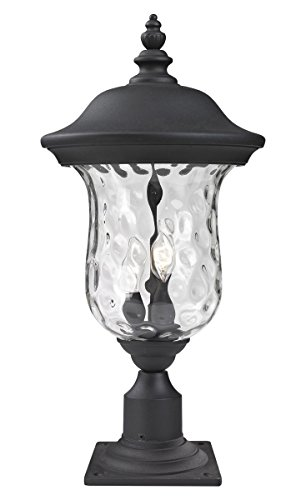 Outdoor-Post-2-Light-with-Black-Finish-Aluminum-Candelabra-Base-Bulb-10-inch-120-Watts-0