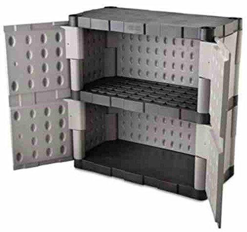 Outdoor-Storage-Shed-Garage-Cabinet-Double-Door-Resin-GrayBlack-0-0