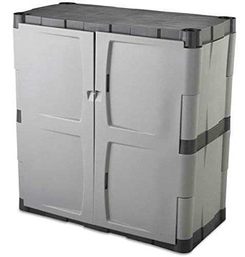 Outdoor-Storage-Shed-Garage-Cabinet-Double-Door-Resin-GrayBlack-0