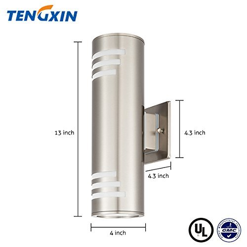 Outdoor-Wall-Light-Waterproof-Wall-Lamp-FixtureOutdoor-Wall-Sconce-2-Lights-Wall-Mount-LightStainless-Steel-304-with-Toughened-Glass-UL-Listed-Suitable-for-Garden-Patio-Lights-Tengxin-0-0