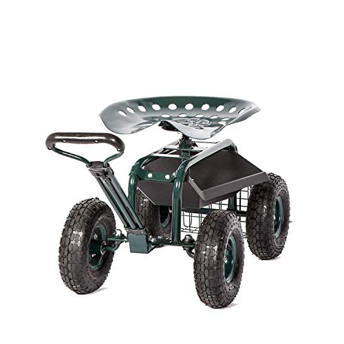 Peach-Tree-Garden-Cart-Rolling-Work-Seat-with-Tool-Tray-Heavy-Duty-Gardening-Planting-New-0
