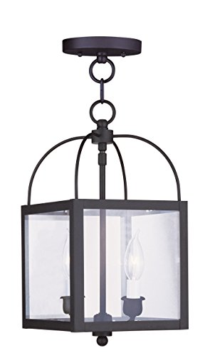 Pendants-Porch-2-Light-With-Clear-Glass-Black-Finish-size-8-in-120-Watts-World-of-Crystal-0