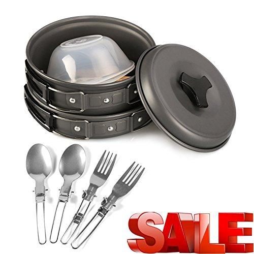 Portable-Camping-Cookware-Mess-Kit-12-Piece-Backpacking-Camp-Gear-Outdoor-Hiking-Cooking-Utensils-Cookset-Pot-Pan-Bowls-and-Folding-Spork-Set-Bag-0
