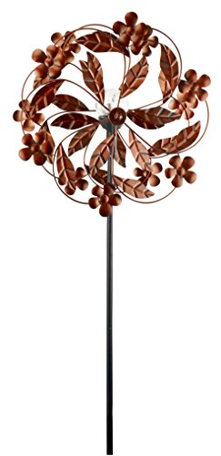 Red-Carpet-Studios-34439-Outdoor-Dcor-Wind-Spinner-Solar-Metal-Garden-Stake-Flowers-and-Leaves-0
