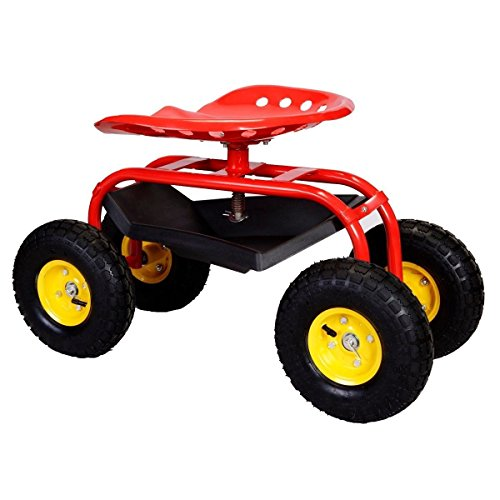 Red-Rolling-Garden-Cart-Work-Seat-Tool-Tray-Planting-lawn-garage-scooter-wheels-0-0