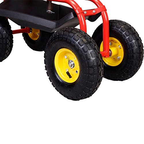 Red-Rolling-Garden-Cart-Work-Seat-Tool-Tray-Planting-lawn-garage-scooter-wheels-0-1