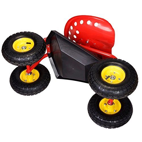 Red-Rolling-Garden-Cart-Work-Seat-Tool-Tray-Planting-lawn-garage-scooter-wheels-0-2