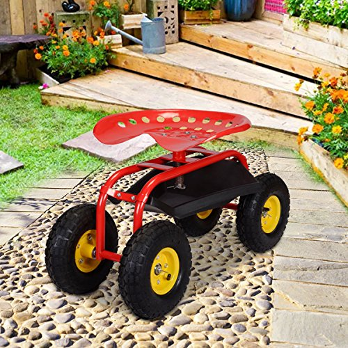 Red-Rolling-Garden-Cart-Work-Seat-W-Heavy-Duty-Tool-Tray-Gardening-Plan-0-0
