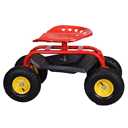 Red-Rolling-Garden-Cart-Work-Seat-W-Heavy-Duty-Tool-Tray-Gardening-Plan-0-2