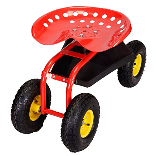 Red-Rolling-Garden-Cart-Work-Seat-W-Heavy-Duty-Tool-Tray-Gardening-Plan-0