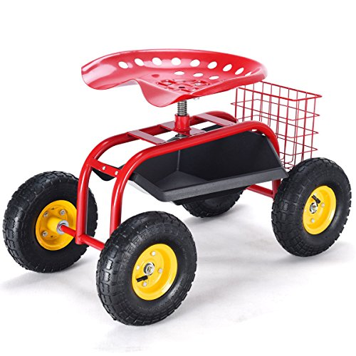 Rolling-Garden-Cart-Work-Seat-With-Tool-Tray-Gardening-Planting-Wagon-Cart-Outdoor-Patio-Lawn-Yard-Utility-Buggy-Scooter-Wheelbarrow-Heavy-Duty-Durable-Steel-Tube-Frame-Adjustable-Seat-Height-0