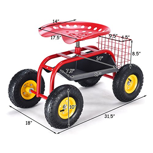 Rolling-Garden-Cart-Work-Seat-with-Tool-Tray-Heavy-Duty-Gardening-Planting-Red-by-Skallywags-Depot-0-0