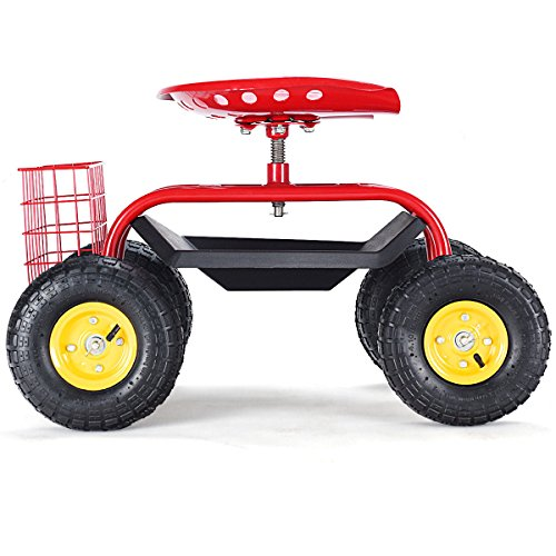 Rolling-Garden-Cart-Work-Seat-with-Tool-Tray-Heavy-Duty-Gardening-Planting-Red-by-Skallywags-Depot-0-1
