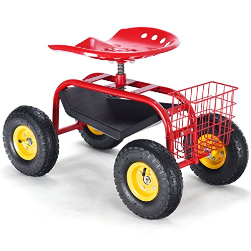 Rolling-Garden-Cart-Work-Seat-with-Tool-Tray-Heavy-Duty-Gardening-Planting-Red-by-Skallywags-Depot-0