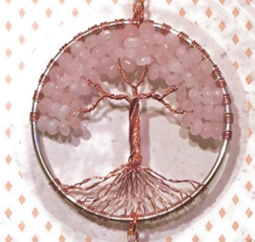 Rose-Quartz-Crystal-Tree-of-Life-Sun-Catcher-with-Crystal-Ball-PrismHandmade-Crystal-SuncatcherCrystal-Window-OrnamentFeng-Shui-Ornament-0-0