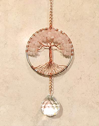Rose-Quartz-Crystal-Tree-of-Life-Sun-Catcher-with-Crystal-Ball-PrismHandmade-Crystal-SuncatcherCrystal-Window-OrnamentFeng-Shui-Ornament-0-2