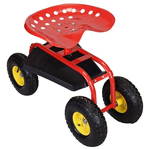 Sawan-Shop-Rolling-Garden-Cart-Work-Seat-With-Heavy-Duty-Tool-Tray-Gardening-Planting-Red-0-0