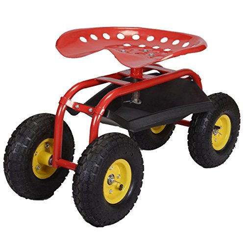 Sawan-Shop-Rolling-Garden-Cart-Work-Seat-With-Heavy-Duty-Tool-Tray-Gardening-Planting-Red-0