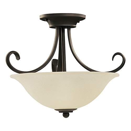 Sea-Gull-Lighting-51120-820-Del-Prato-Two-Light-Semi-Flush-Convertible-Pendant-with-Seeded-Acid-Etched-Cafe-Tint-Glass-Shade-Chestnut-Bronze-Finish-0-0