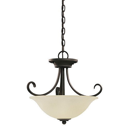Sea-Gull-Lighting-51120-820-Del-Prato-Two-Light-Semi-Flush-Convertible-Pendant-with-Seeded-Acid-Etched-Cafe-Tint-Glass-Shade-Chestnut-Bronze-Finish-0