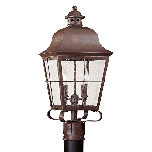 Sea-Gull-Lighting-8262-44-Chatham-Two-Light-Outdoor-Post-Lantern-with-Clear-Seeded-Glass-Panels-Weathered-Copper-Finish-0