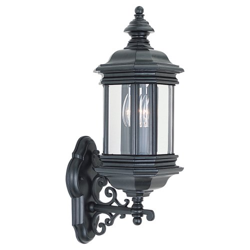 Sea-Gull-Lighting-8838-12-Outdoor-Sconce-with-Clear-Beveled-Glass-Shades-Black-Finish-0