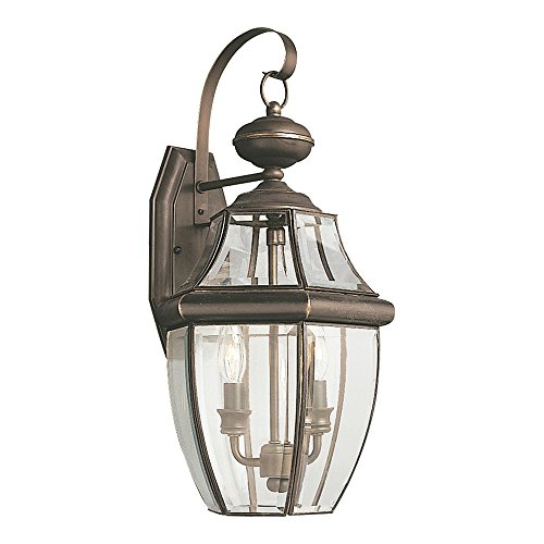 Sea-Gull-Lighting-Lancaster-Two-Light-Outdoor-Wall-Lantern-with-Clear-Curved-Beveled-Glass-Panels-0