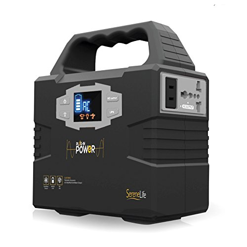 SereneLife-Portable-Generator-150Wh-Power-Station-Quiet-Gas-Free-Power-Inverter-CPAP-Battery-Pack-Charged-by-Solar-PanelWall-OutletCar-with-110V-AC-Outlet3-DC-12V-USB-Port-0