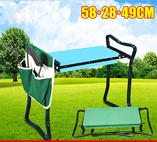 Sokey-Folding-Garden-kneeler-Multifuncational-Garden-Chair-SeatStool-with-Tool-HolderGreen-0-2