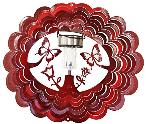 Solar-Butterfly-Red-Starlight-Wind-Spinner-Metal-Yard-Art-and-Outdoor-Dcor-12-Inch-0