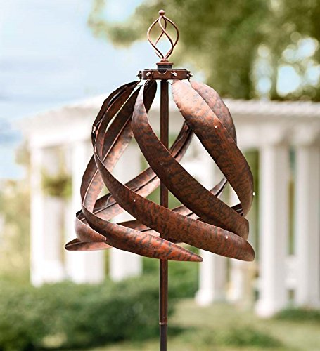 Solar-Copper-Colored-Metal-Garden-Wind-Spinner-Sculpture-Decorative-Yard-Art-215-Diam-x-75-H-0