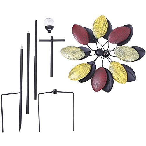 Solar-Wind-Spinner-7-Foot-Tricolor-Multi-Color-LED-Lighting-by-Solar-Powered-Glass-Ball-Perfect-Gardening-Gift-Amongst-Wind-Spinners-and-Windmills-Yard-Art-with-Kinetic-Dual-Direction-Spinning-0-2