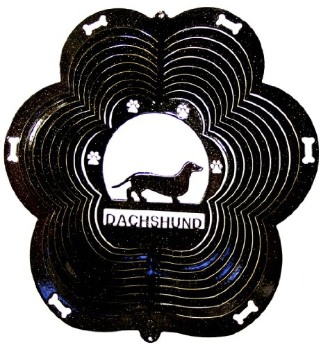 Stainless-Steel-Dachshund-Dog-12-Inch-Wind-Spinner-Black-0