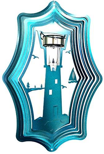 Stainless-Steel-Solar-Light-Lighthouse-16-Inch-Wind-Spinner-Teal-0