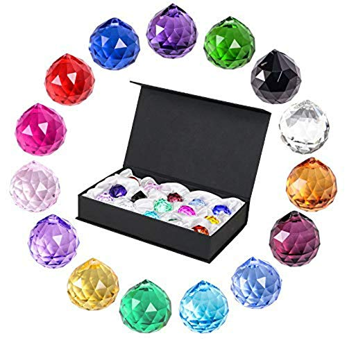 SunAngel-Multi-color-Glass-Crystal-Ball-Prisms-Pendant-Feng-Shui-Suncatcher-Decorating-Hanging-Faceted-Prism-Balls-for-Feng-ShuiDivination-or-WeddingHomeOffice-Decoration-30mm-Pack-of-15-0-0
