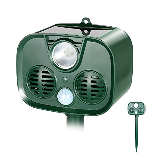 TTMOW-Solar-Ultrasonic-Animal-Repellent-and-Pest-Repeller-with-UltrasonicFlash-Light-and-Alarm-SoundWaterproof-Outdoor-UseBatteries-Included-Repel-Cats-Mice-Snakes-and-Other-Animals-0