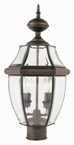 Transglobe-Lighting-4321-BK-Post-Head-with-Beveled-Glass-Shades-Black-Finished-0
