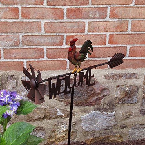 TreasureGurus-LLC-Metal-Rooster-Garden-Wind-Spinner-Farm-Windmill-0-0