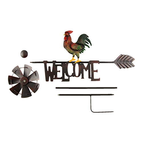 TreasureGurus-LLC-Metal-Rooster-Garden-Wind-Spinner-Farm-Windmill-0