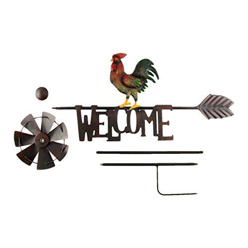 TreasureGurus-LLC-Metal-Rooster-Garden-Wind-Spinner-Farm-Windmill-0