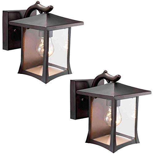 Twin-Pack-Designers-Impressions-73474-Black-Mission-Style-Outdoor-PatioPorch-Wall-Mount-Exterior-Lighting-Lantern-Fixtures-with-Clear-Glass-0