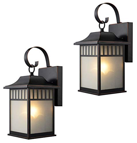 Twin-Pack-Designers-Impressions-73477-Oil-Rubbed-Bronze-Outdoor-PatioPorch-Wall-Mount-Exterior-Lighting-Lantern-Fixtures-with-Frosted-Glass-0