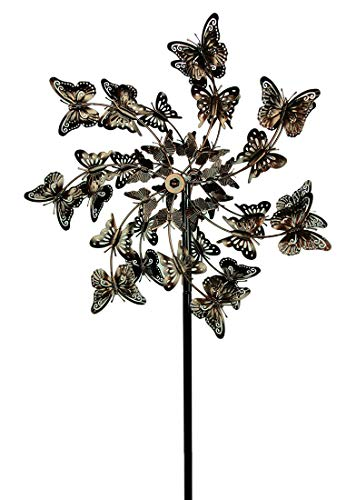 Upper-Deck-LTD-Aged-Copper-Finish-Butterfly-Garden-Twirler-Kinetic-Wind-Spinner-Stake-0