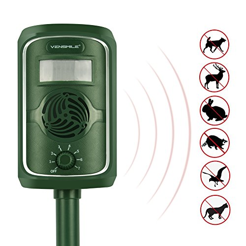 VENSMILE-PIR-Sensor-Solar-Animal-Repeller-Motion-Activated-with-Ultrasonic-Sound-Waves-to-Repel-Cats-Dogs-Foxes-Martens-Rabbits-Herons-Birds-Without-Harmful-Chemicals-Safe-to-Human-0-0