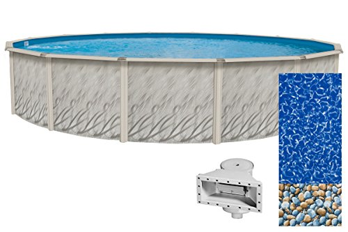 Wilbar-Meadows-Reprieve-12-Foot-Round-Above-Ground-Swimming-Pool-52-Inch-Height-Resin-Protected-Steel-Sided-Walls-Bundle-with-Bedrock-Pattern-25-Gauge-Overlap-Liner-and-Widemouth-Skimmer-0
