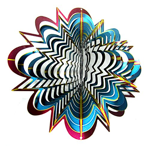 WorldaWhirl-Whirligig-3D-Wind-Spinner-Hand-Painted-Stainless-Steel-Twister-Star-2-12-3D-Spiral-Tails-Swivels-and-Hooks-Multi-Color-Combo-Set-0-1