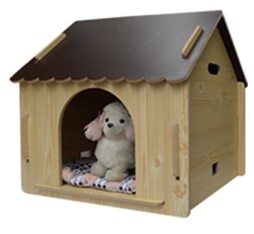 ZeeMoe-Brown-Large-Easy-Assembly-IndoorOutdoor-Wooden-Dog-House-Dog-House-0