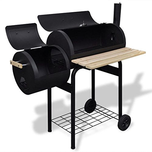 vidaXL-BBQ-Offset-Smoker-Barbecue-Charcoal-Grill-Small-Steel-Barrel-Outdoor-Cooking-0-0
